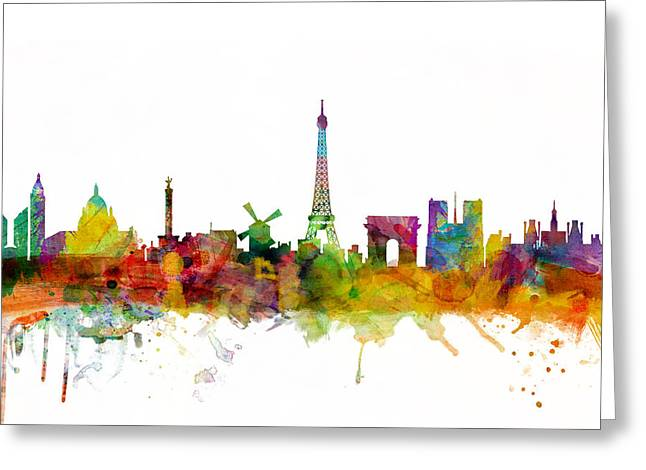Eiffel Greeting Cards - Paris France Skyline Greeting Card by Michael Tompsett