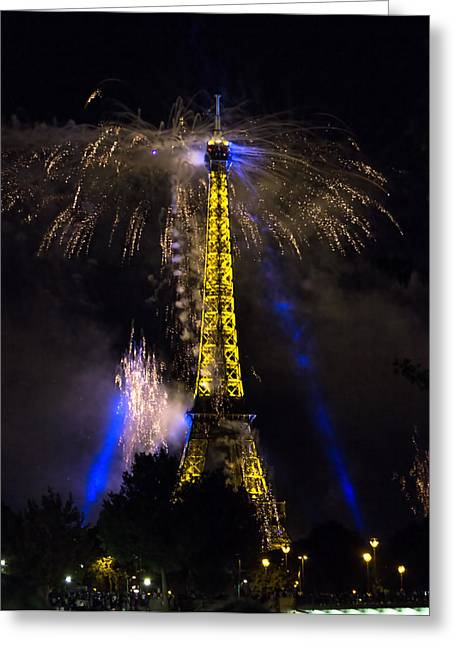 Recently Sold -  - Pyrotechnics Greeting Cards - PARIS - JULY Famous fireworks near Eiffel Tower during celeb Greeting Card by Radoslav Nedelchev