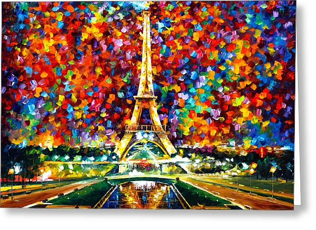 Palette Knife Greeting Cards - Paris Of My Dreams Greeting Card by Leonid Afremov