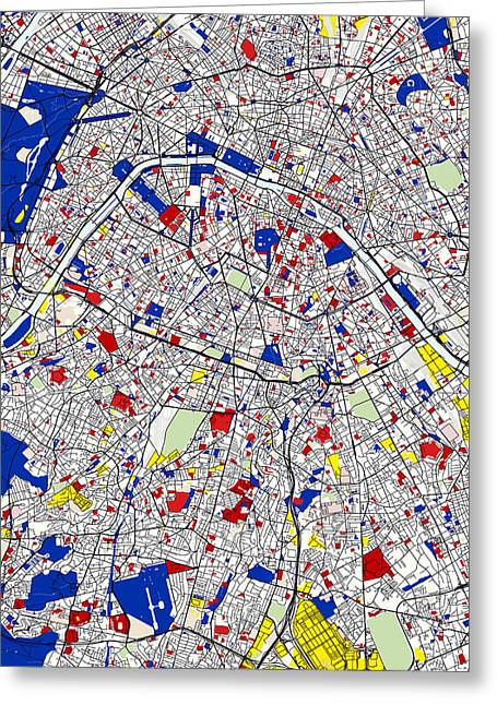 Circles Squares Triangle Textured Greeting Cards - Paris Piet Mondrian Style City Street Map Art Greeting Card by Adam Asar