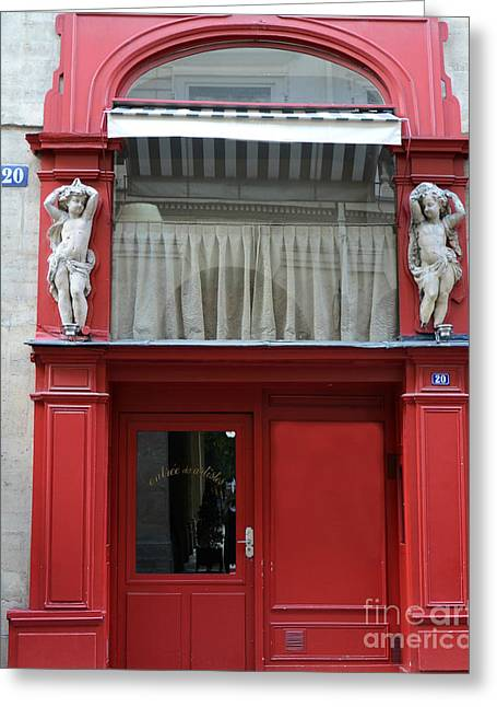 Photos With Red Photographs Greeting Cards - Paris Red Door Photography - Paris Red Cafe - Red and White Architecture Art Nouveau Art Deco Greeting Card by Kathy Fornal