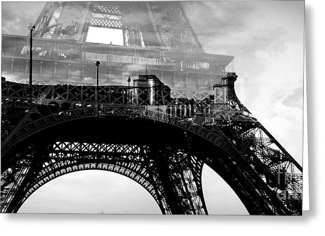 Monochrome Pyrography Greeting Cards - Paris Tour Eiffel Greeting Card by Cyril Jayant