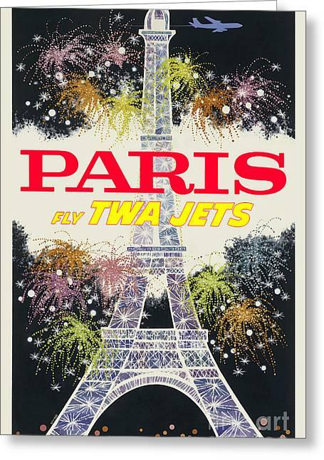 Fashion Design Art Greeting Cards - Paris Vintage Travel Poster Greeting Card by Jon Neidert