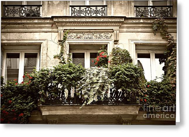 Building. Home Greeting Cards - Paris windows Greeting Card by Elena Elisseeva