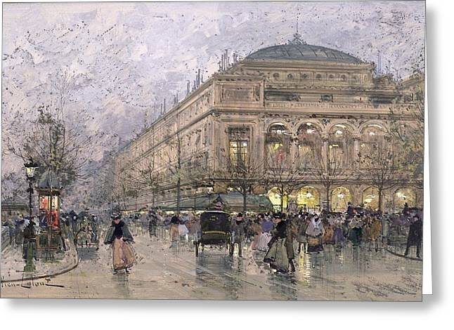 Traffic Greeting Cards - Parisian Street Scene Greeting Card by Eugene Galien-Laloue