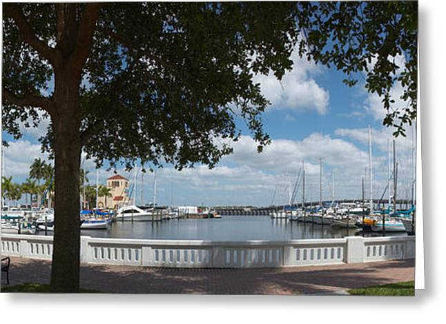 Bradenton Greeting Cards - Park At The Riverside, Twin Dolphin Greeting Card by Panoramic Images