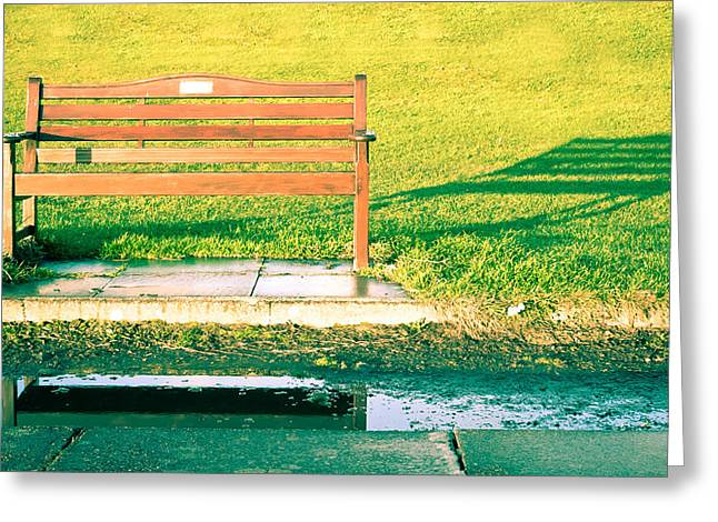 Puddle Greeting Cards - Park Bench Greeting Card by Tom Gowanlock