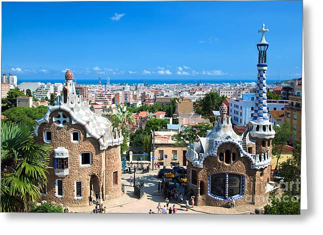 Guell Greeting Cards - Park Guell in Barcelona Greeting Card by Michal Bednarek