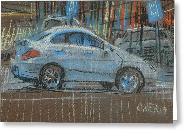 Car Pastels Greeting Cards - Parking Lot Greeting Card by Donald Maier