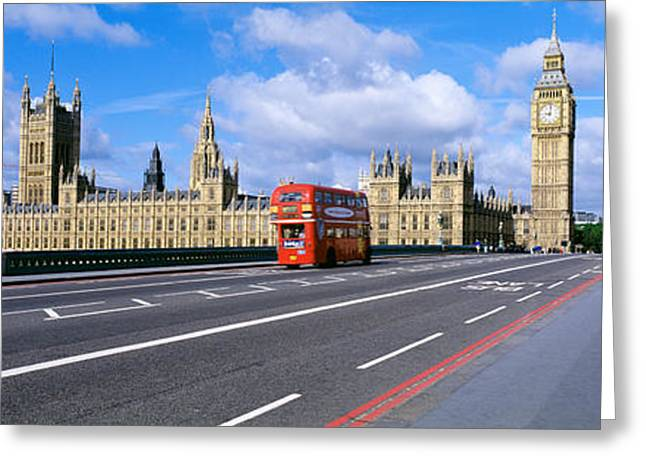 Double Decker Greeting Cards - Parliament Big Ben London England Greeting Card by Panoramic Images