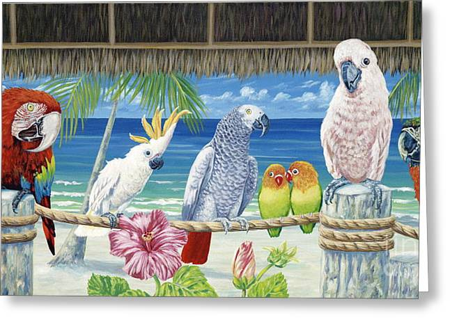 Parrot Art Print Greeting Cards - Parrots in Paradise Greeting Card by Danielle  Perry