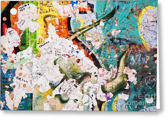 Berlin Wall Greeting Cards - Part of Berlin Wall with graffiti Greeting Card by Michal Bednarek