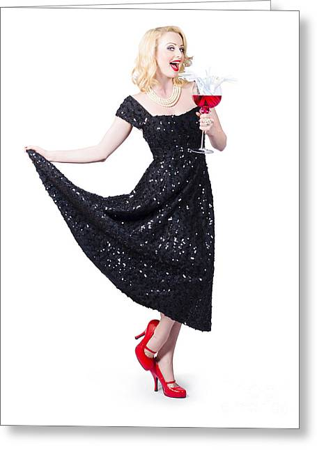 Sequins Greeting Cards - Party woman in a black sequin dress over white Greeting Card by Ryan Jorgensen