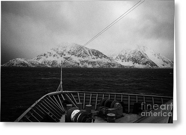 Scandanavian Greeting Cards - Passenger Ship Sailing Along The Coast Of The Norwegian Sea  During Winter Norway Europe Greeting Card by Joe Fox