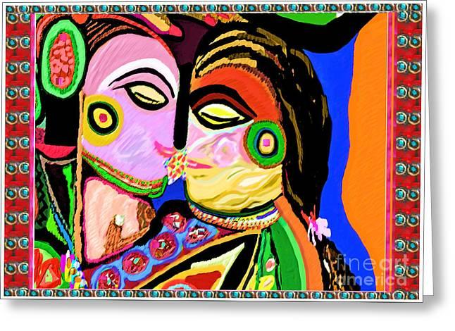 Passionate Kiss Kamasutra Khajuraho India Cave Style Art Navinjoshi Rights Managed Images Graphic De Greeting Card by Navin Joshi