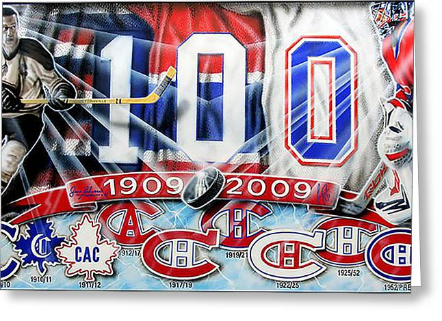 Hockey Paintings Greeting Cards - Past And Present... Greeting Card by Denis Rufiange