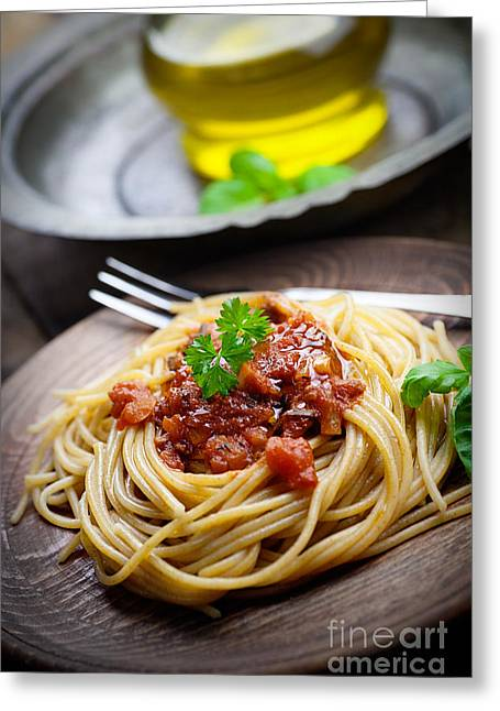 Spaghetti Noodles Greeting Cards - Pasta with tomato sauce Greeting Card by Mythja  Photography