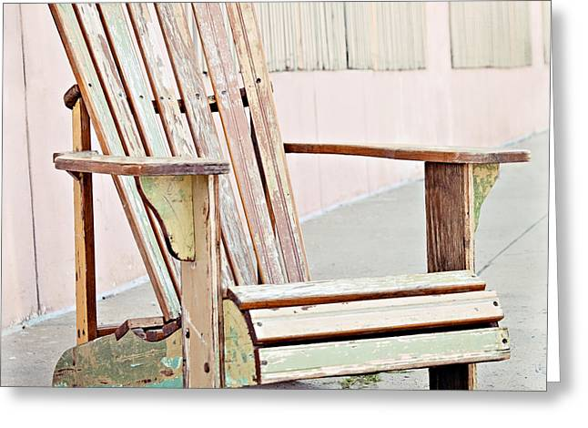 Empty Chairs Greeting Cards - Pastel Adirondack Chair Greeting Card by Angela Bonilla