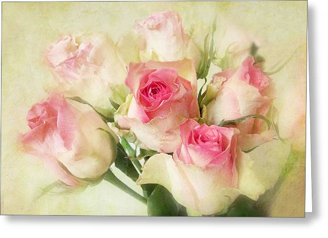 Chic Digital Greeting Cards - Pastel Roses Greeting Card by Jessica Jenney
