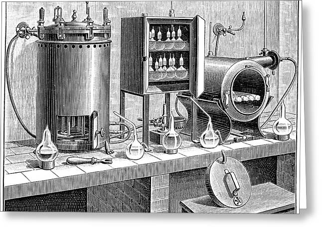 Vaccine Greeting Cards - Pasteur Institute vaccine research, 1890 Greeting Card by Science Photo Library