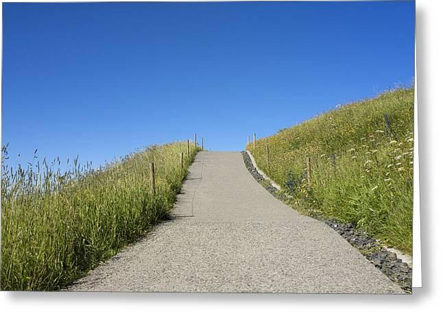Mountain Road Greeting Cards - Path Greeting Card by Bernard Jaubert
