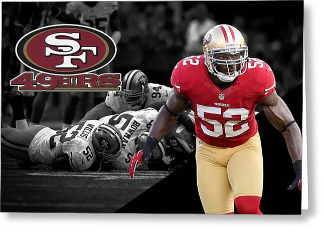 49ers Greeting Cards - Patrick Willis 49ers Greeting Card by Joe Hamilton