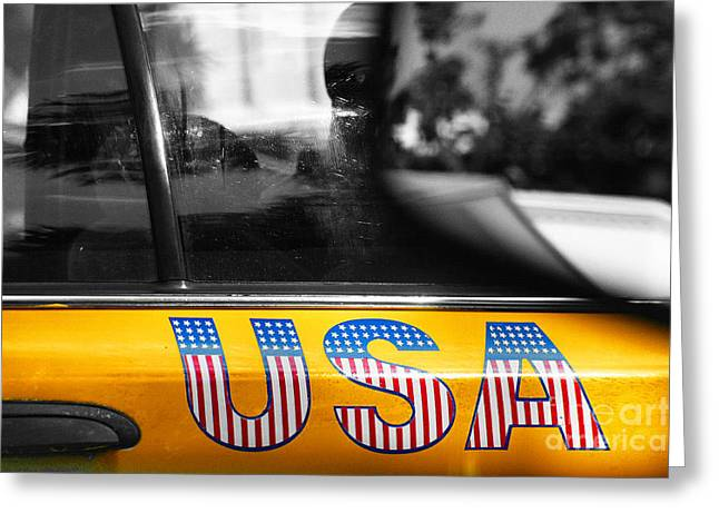 Juvenile Wall Decor Mixed Media Greeting Cards - Patriotic USA  NYC Taxi in Yellow and BW Greeting Card by Anahi DeCanio - ArtyZen Studios