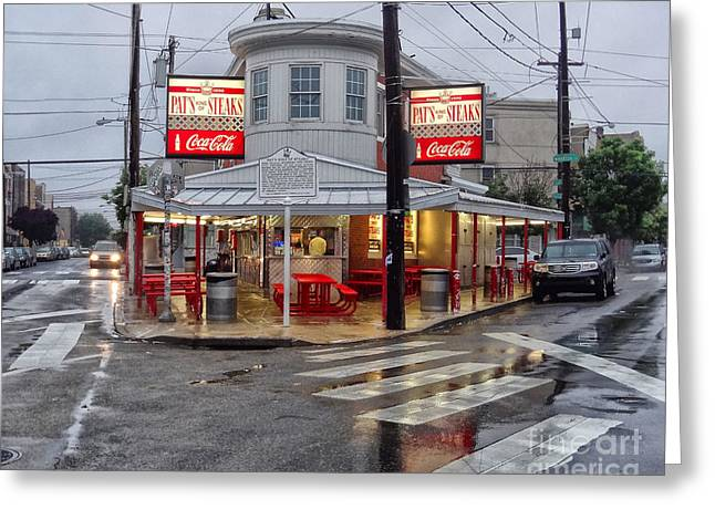Pat's Steaks Greeting Card by JACK PAOLINI
