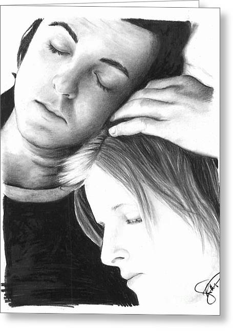 Paul Mccartney Greeting Cards - Paul and Linda McCartney Greeting Card by Rosalinda Markle