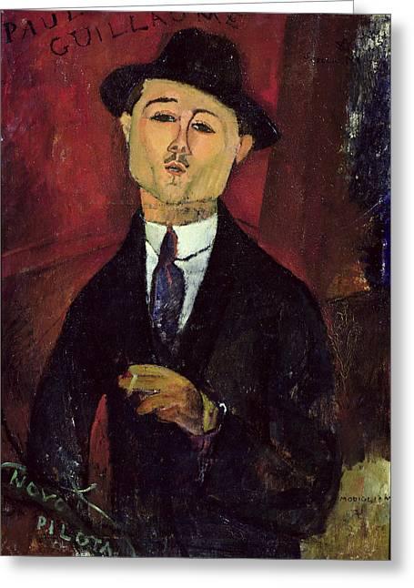 Modigliani Greeting Cards - Paul Guillaume Greeting Card by Amedeo Modigliani