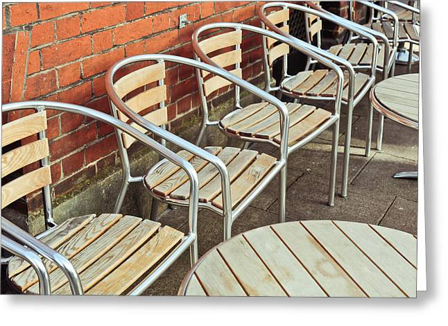 Ironwork Greeting Cards - Pavement cafe Greeting Card by Tom Gowanlock