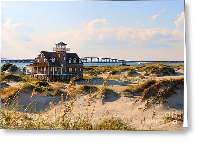 Pea Island Greeting Cards - Pea Island Life Saving Station Panorama Greeting Card by Jack Schultz