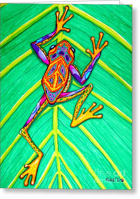 Amphibian Mixed Media Greeting Cards - Peace Frog Greeting Card by Nick Gustafson