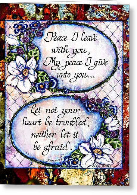 Scripture Digital Art Greeting Cards - Peace I leave With You Greeting Card by La Rae  Roberts