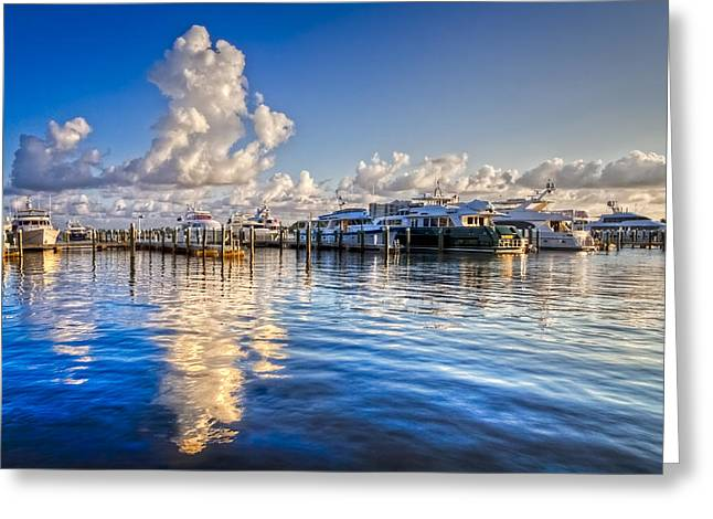 Jupiter Inlet Greeting Cards - Peaceful Harbor Greeting Card by Debra and Dave Vanderlaan