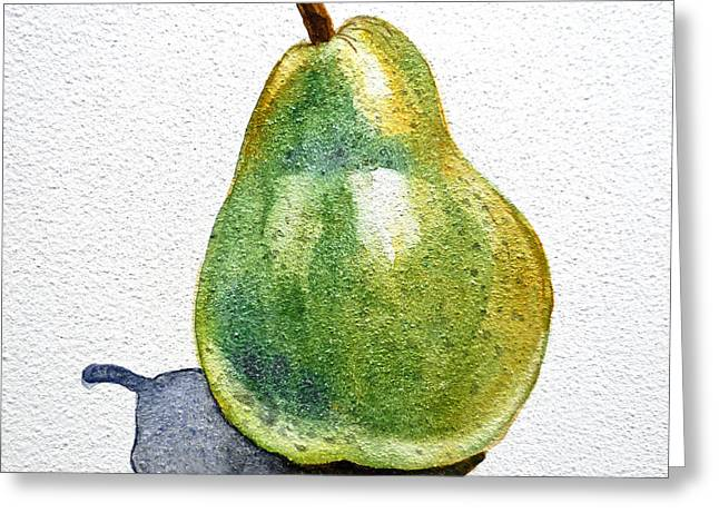 Pear Greeting Card by Irina Sztukowski