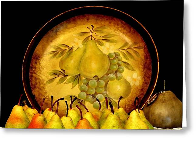 Paint It Greeting Cards - Pears and Pears Greeting Card by Marsha Heiken