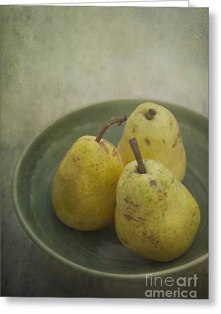 Greentones Greeting Cards - Pears Greeting Card by Priska Wettstein