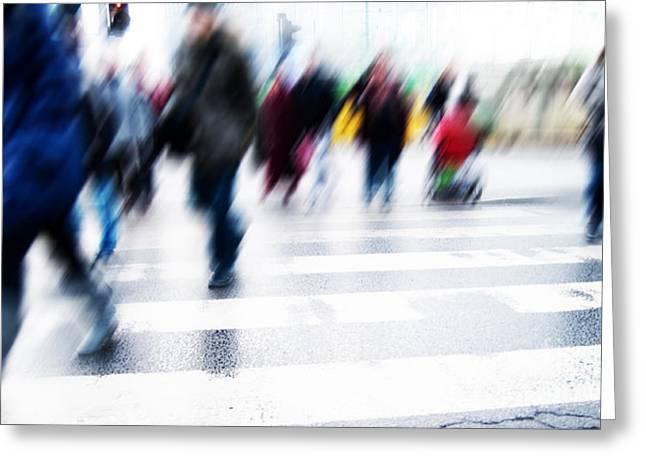 Pedestrian Crossing Rush. Greeting Card by Michal Bednarek
