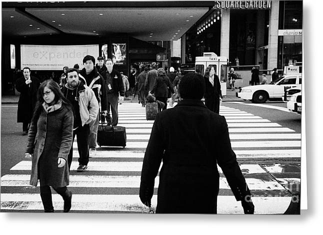 Manhaten Greeting Cards - Pedestrians Crossing Crosswalk Carrying Luggage On Seventh 7th Ave Avenue  Greeting Card by Joe Fox