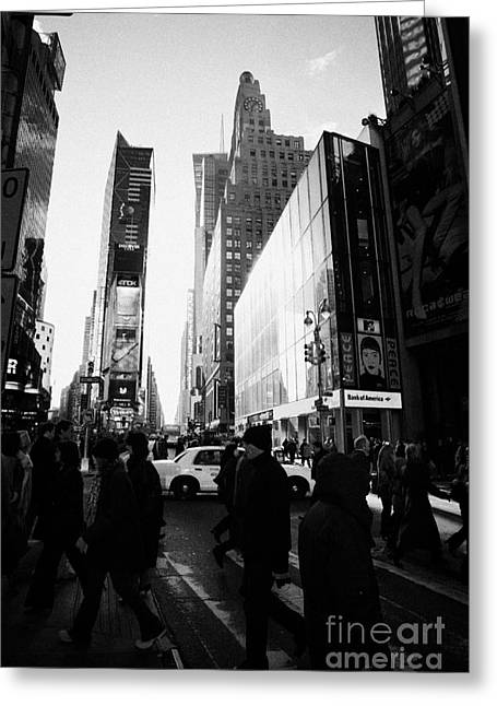 Manhatan Greeting Cards - Pedestrians Walking Across Crosswalk Times Square In Daytime New York City Greeting Card by Joe Fox