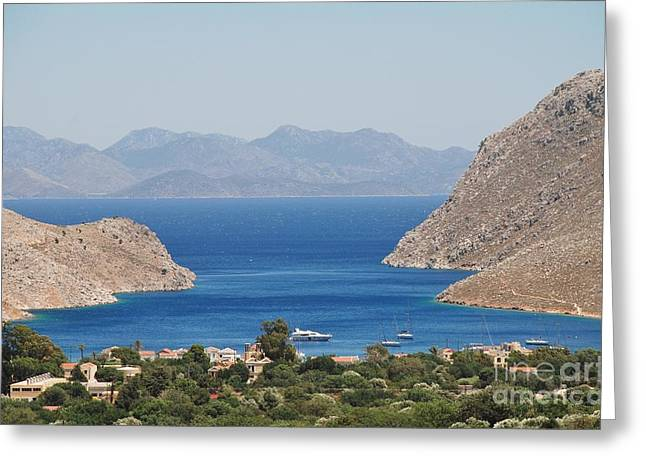 Dodecanese Greeting Cards - Pedi bay Symi Greeting Card by David Fowler