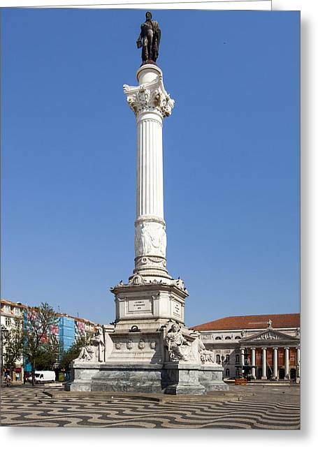 Town Square Greeting Cards - Pedro IV Square best known as Rossio Square Greeting Card by Andre Goncalves