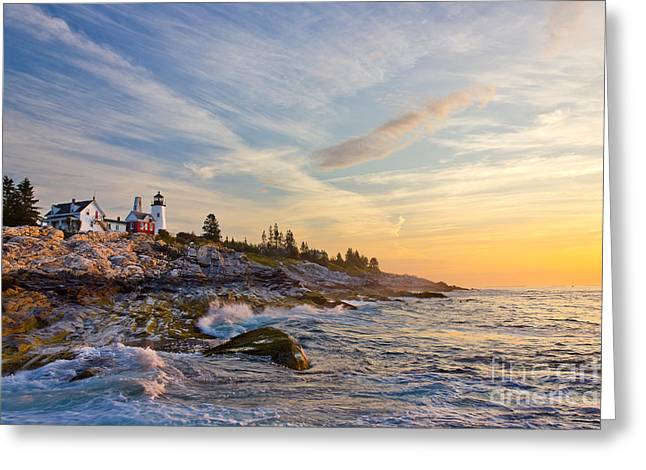 Maine Lighthouses Greeting Cards - Pemaquid Greeting Card by Benjamin Williamson