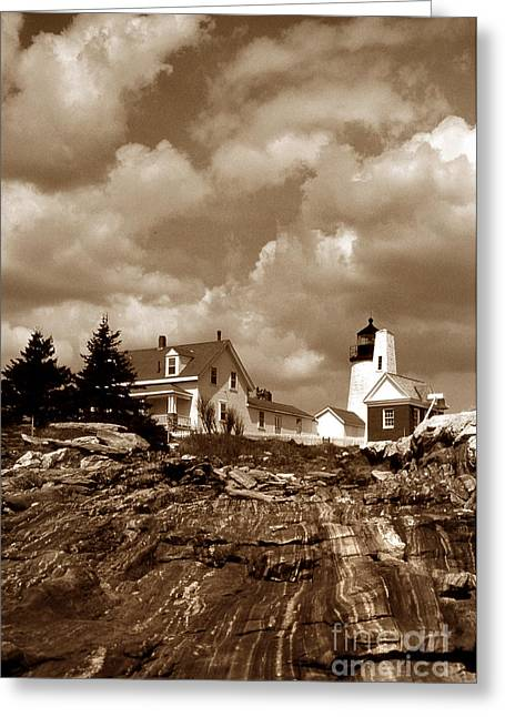 Maine Lighthouses Greeting Cards - Pemaquid In Sepia Greeting Card by Skip Willits