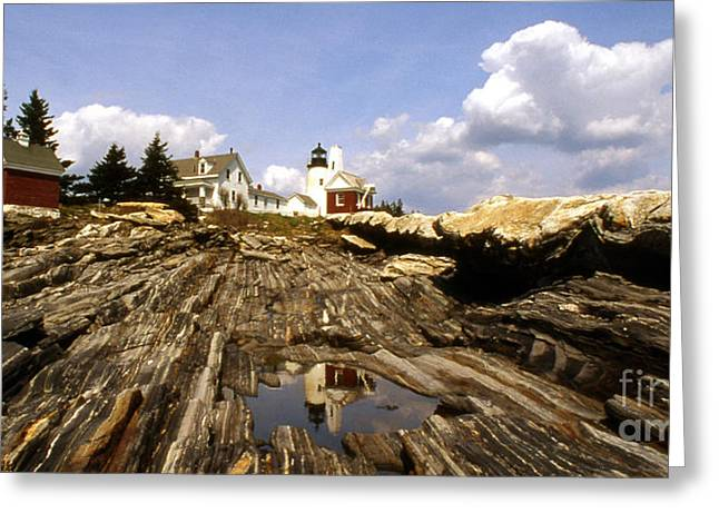 Maine Beach Greeting Cards - Pemaquid Point Lighthouse Greeting Card by Skip Willits