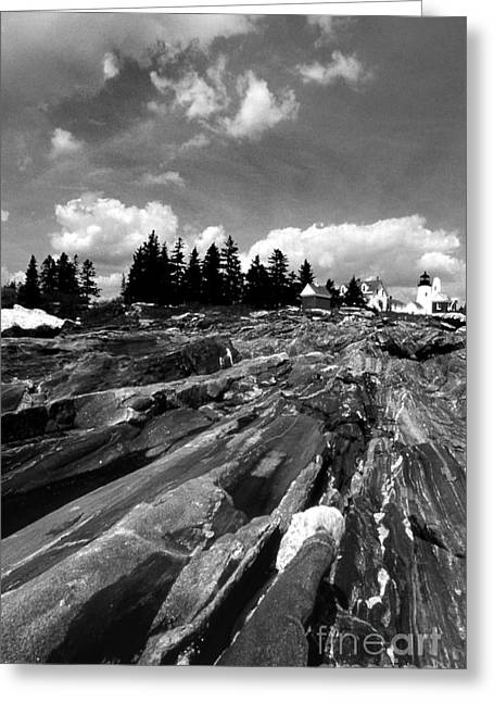 Maine Lighthouses Greeting Cards - Pemaquid Rocks Greeting Card by Skip Willits