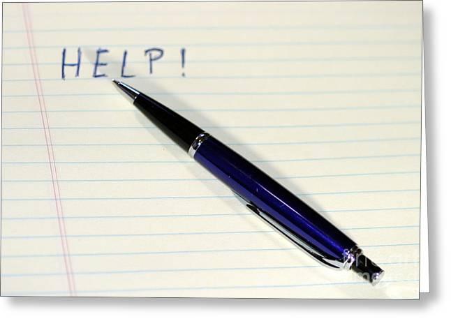 Pen Help Greeting Card by Henrik Lehnerer