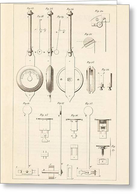 Pendulum Greeting Cards - Pendulum escapements 19th century Greeting Card by Science Photo Library