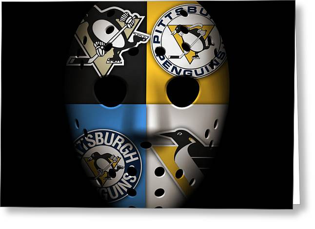 Penguins Greeting Cards - Penguins Goalie Mask Greeting Card by Joe Hamilton
